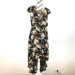 WAYF high low floral dress with flutter sleeve